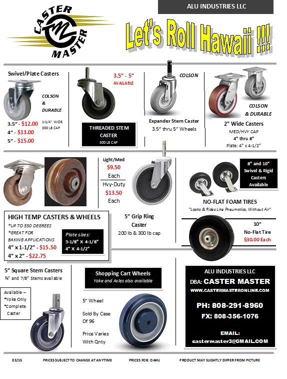 Casters and Wheels, Hawaii Casters and Wheels, replacement casters, top plate, swivel and rigid, threaded stem casters