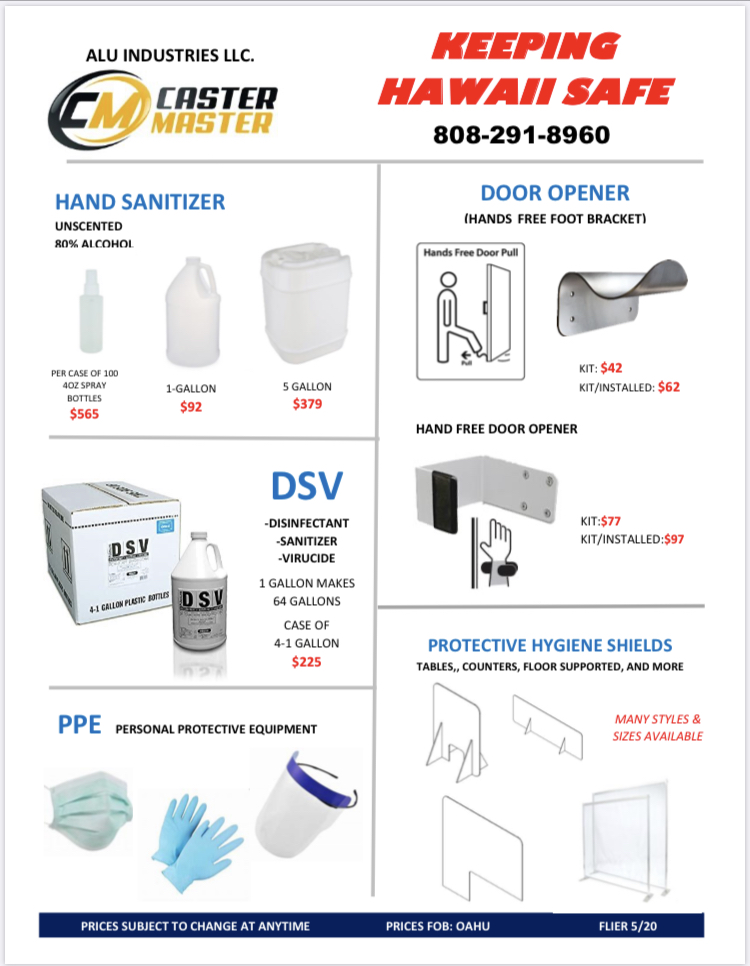 Covid Safety Products HAWAII Flyer